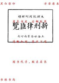 【复印件】大理院判例解释新刑律汇览-周东白-民国世界书局刊本