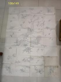 六七十年代湘绣原始手绘底稿6张,