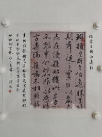 保真书画,谭刚书法一幅,临古人晋王珣伯远帖,尺寸43.5×44cm,中国书画函授大学展览作品。