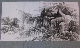 四川老画家 杨老师 国画水墨山水四尺整纸  原稿手绘真迹