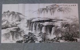 四川老画家 杨老师 国画水墨山水 平顶山 四尺整纸 原稿手绘真迹