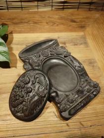 清陶代制老砚台,雕刻凤龙呈祥,雕精工致,完包整老,正使常用,尺如寸图