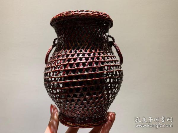 大漆手工竹编花器