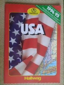 【旧地图】美国分州地图集  8开 1994年版Hallwag 系列地图