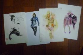 手稿画四张合卖