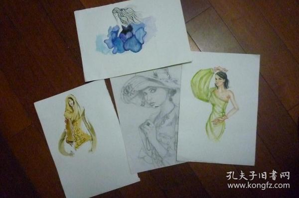 手稿画四张合卖(陶驶皓画堆一起 没有具名)