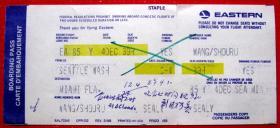 从美国华盛顿到迈阿密位号39H带副券,早期外国登机牌、飞机票甩卖,实拍,包真