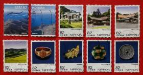 日邮·日本邮票信销·樱花目录编号C2366  2018年第三次世界遗产第十一集 神宿岛及相关遗产群10枚全