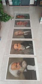 世界五大伟人画像---70年代----【马恩列斯毛画像】----对开-----虒人荣誉珍藏