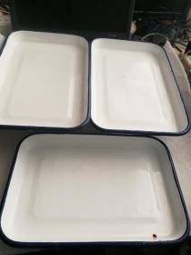 搪瓷方盘医疗方盘3个合售