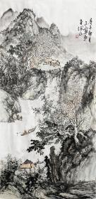 【本店只做真品真迹】闫忠良,字润正,毕业于山东省师范学院美术系,曾就读于中国艺术研究院,师从诸师学习中国画理论与创作。系山东省美协会员,齐鲁山水画研究院画家。竖幅传统山水画1《垂钓山水间》(68×34cm)。