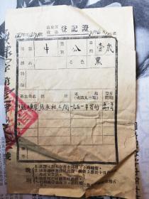 山东省役畜登记证(1951)
