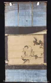 【日本回流】原装旧裱 佚名 国画作品《垂钓》一幅(纸本立轴,画心约2.2平尺)HXTX205060
