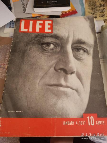 美国生活杂志 生活周刊1937年1月4日 封面人物富兰克林罗斯福总统 超大开本 超好纸质 记录美国时政社会综合性报刊