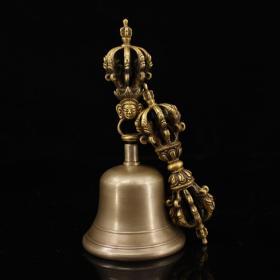 西藏寺院收老纯响铜纯手工打造寺院高僧做法用金刚降魔铃杵一套       声音浑厚 悠长 镇宅,辟邪利器