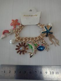 收藏饰品合金手链 各种造型的镶钻合金吊坠,品相保存的极好,