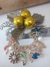 收藏饰品合金手链10 各种造型的镶钻合金吊坠,品相保存的极好