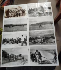 老照片~上世纪八九十年代云南大理市某单位消防演练照片八张合售