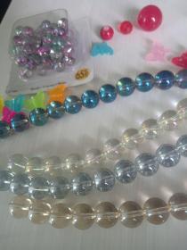 12mm玻璃高光鍍彩圆珠串 七英寸长,自己可diy,串珠手链或摆设。。。。