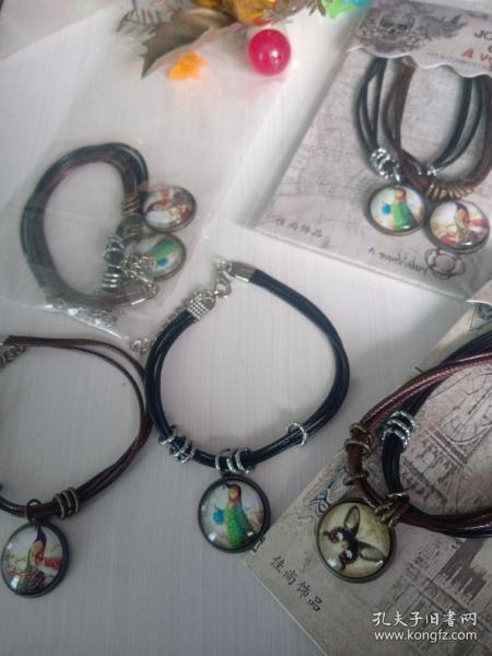 复古皮绳手链,吊坠是和合金镶嵌强化玻璃,材料环保,放心佩戴收藏