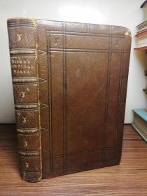1861年  THE POETICAL WORKS OF REGINALD HEBER 全皮装帧  三面刷金   竹节皮脊  17X11CM