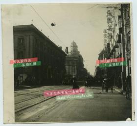 民国1946年天津法国租界大法国路,现在的解放北路,成兴茶庄,凤翔鞋帽,泛银