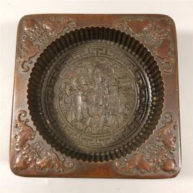 仿古工艺品民俗雕件乾隆李裕元制纯铜糕模福禄寿图糕点模具收藏