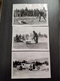 老照片~上世纪八九十年代云南大理某单位消防演练老照片3张合售