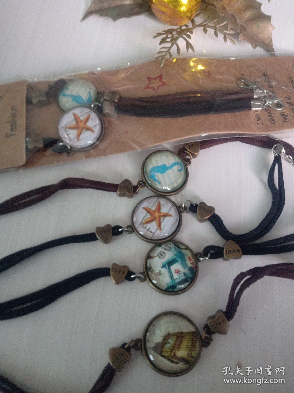 复古皮绳手链系列强化玻璃镶嵌合金里面,环保无毒 放心佩戴和收藏,
