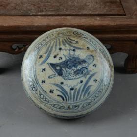 青花鱼草纹印泥盒