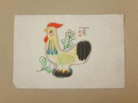 七八十年代 木板水印 田原 公鸡