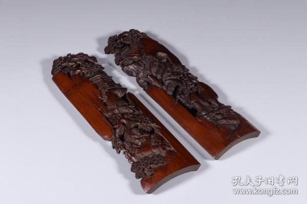 清代:竹雕镂空睢阳五老臂搁一对