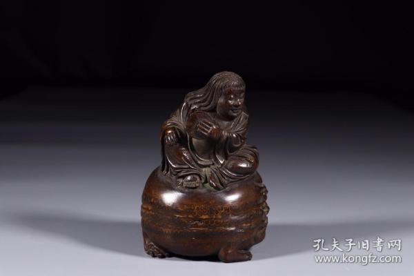 清代:竹雕刘海戏金蟾摆件