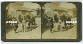"""清末民国时期波凡克H.C.怀特立体照片公司-----1901年北京胡同里的平房, 交通运输骆驼队与赶车把式, 永和车行等,后面的店铺招幡上写的""""急兑银两..."""