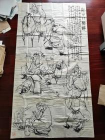 汕头市书法家协会顾问、中国手指画研究会汕头分会顾问、岭东书画院理事谢种松国画《醉八图》,178cm*96cm。