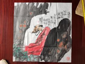 汕头市书法家协会顾问、中国手指画研究会汕头分会顾问、岭东书画院理事谢种松国画《达摩图》,68cm*68cm。