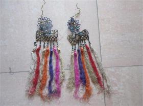 老琉璃珠刺绣品民国老服装门饰门帘穗子花边收藏历史记忆民风民俗