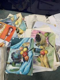 一堆素描 水粉画大概100多张左右,打包一起处理,部分送去参加展览的