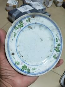 收的老瓷器,青花釉下彩小盘,民间收藏,如图,尺寸口14.5。