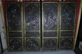 古玩家具老漆器花开富贵花鸟图四条屏 中堂挂匾