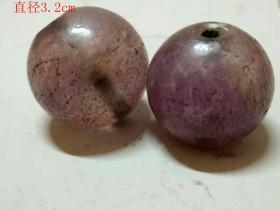 清代天然翡翠紫罗兰珠子