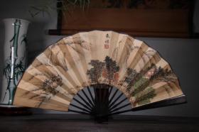 檀木手绘纸折扇    山水画折扇把件