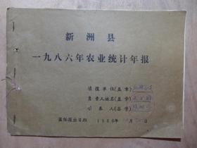 新州县三店镇一九八六年红旗总支农业统计年报