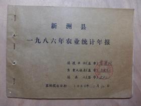新州县三店镇一九八六年曾寨村农业统计年报