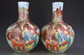 清乾隆刻金珐琅彩西洋人物纹天球瓶