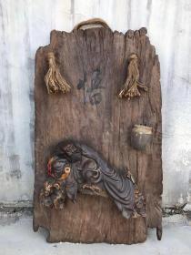 清代 紫砂挂釉达摩人物 紫砂烧制人物行象置于木板上 人物行象逼真 做工精致 品相完整 包老包真 值得收藏