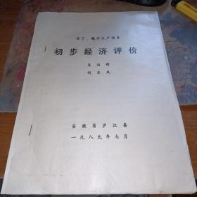 安徽省庐江县酒厂,1989年油印本(菲丁、糠油生产项目初步经济评价)16开
