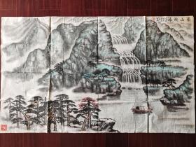 江门画家谢盛国画《崇山飞瀑》,109cm*65cm。