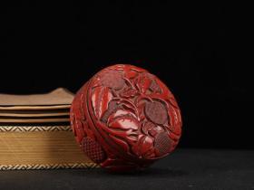剔红漆器多子多福首饰盒摆件