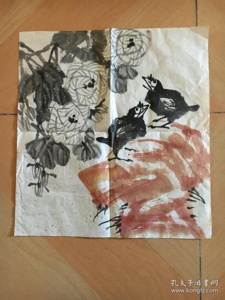 国画 - 宣纸未裱  -  尺寸:46x43厘米  品相以图为准